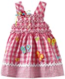 Youngland Baby-Girls Infant Sleeveless Smock Bodice Seersucker With Butterfly Applique, Pink White, 18 Months image