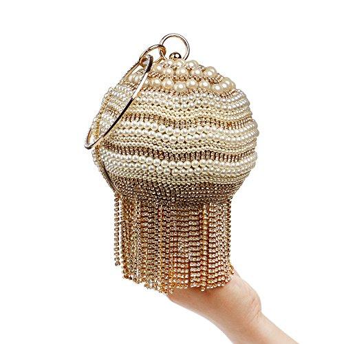 Pour Mariage Gold De Nuptiale Tassel Clubs À Pochette Prom À À Perle Main Glitter Soirée Dames Sac Sphérique Main Femmes Sac Cadeau Diamante Bandoulière Party Sac aqx4wHw
