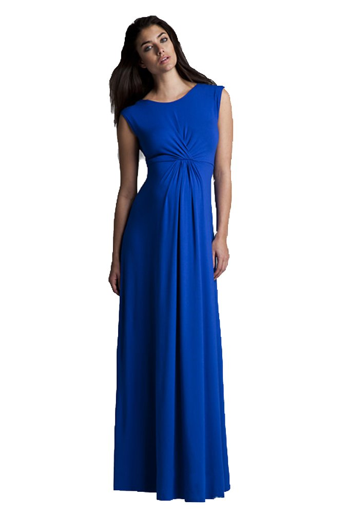 Isabella Oliver Special Occasion Gown Gatherered Maternity Maxi Dress - Cobalt Blue - 3 (US Size 8)