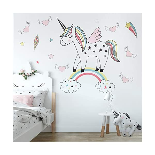 Unicorn Wall Decals Decor Stickers Large Gifts for Kids Teen Girls Boys Rooms Bedroom Nursery Bedding 3