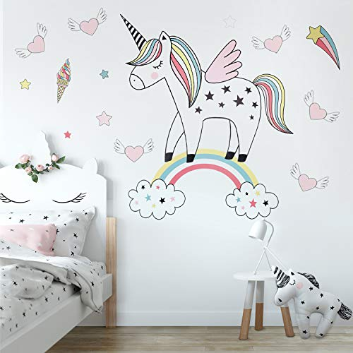 Unicorn Wall Decals Decor Stickers Large Gifts for Kids Teen Girls Boys Rooms Bedroom Nursery Bedding