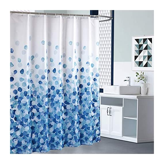 ARICHOMY Shower Curtain Set Bathroom Fabric Fall Curtains Waterproof Colorful Funny with Standard Size 72 by 72 (Blue) - Bathroom Curtain: Made from expertly chosen and thoroughly tested polyester fabric, which is made to withstand moisture-rich bathroom environments. Water repellent-water glides off and dries quickly. Water drops beads up just like a seed pearl in rolling on the lotus leaves. Keep your home clean and fresh. Featuring a perfectly weighted hem, reinforced top header and rust-resistant metal grommets. - shower-curtains, bathroom-linens, bathroom - 51mNgHVbE2L. SS570  -