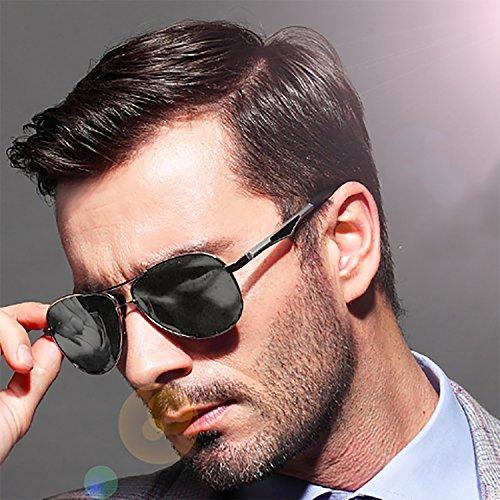 Protección MPTECK Plata caso pañuelo gafas aviador el de clásico polarizado Plata Plata Sol sol estuche Aviador de 400 Hombre UV y con Plata Gafas Polarizadas HqwfrHp