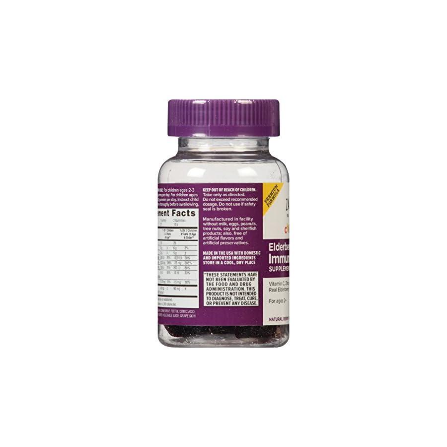 Zarbee's Naturals Children's Mighty Bee Gummies, Elderberry Immune Support Supplement with Vitamin C, Zinc Berry