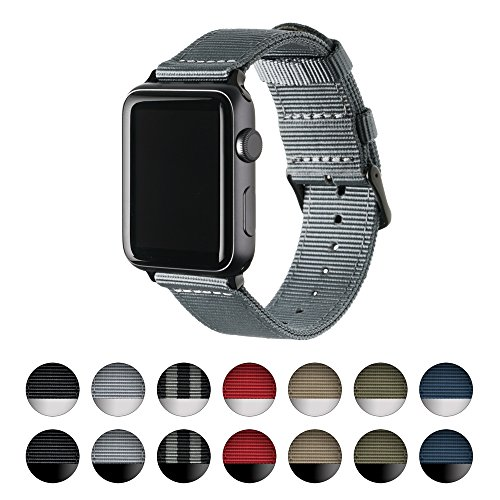Archer Watch Straps | Premium Nylon Replacement Bands for Apple Watch (Gray, Black, (Watch One Piece Get)