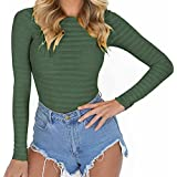 GEMBERA Womens Stretchy Long Sleeve Bodysuits Basic Bodycon Jumpsuits Rompers (Army Green, M)