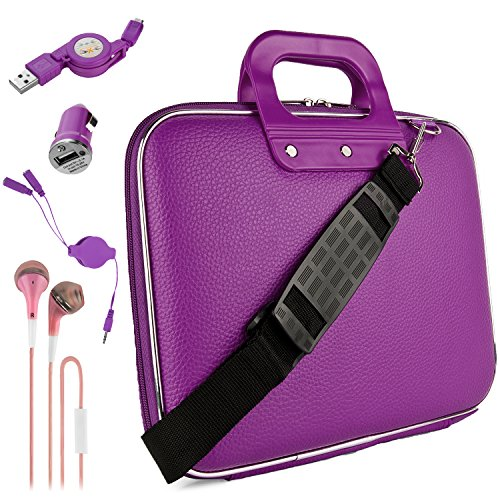 Mobile Earset (Purple Nancy Travel Bag w/ Micro USB Cable & Charger, 2-in-1 3.5mm Headpone Jack Adaper & More For Samsung Galaxy 9.7