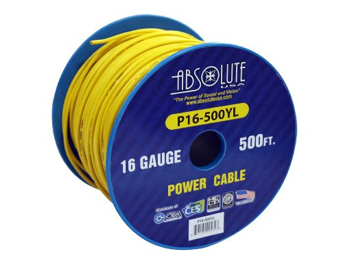 Absolute USA P16-500YE 16 Gauge 500-Feet Spool Primary Power Wire Cable (Yellow 500' Spool)