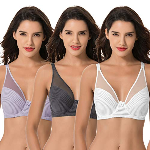 Curve Muse Women's Plus Size Minimizer Unlined Underwire Full Coverage Bra-3PK-LAVENDER,Gray,CREAM-46DDDD
