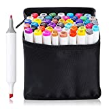 48 Set Color TOUCHNEW Graphic Drawing Painting Art Dual Tip Sketch Pen Twin Marker Coloring Highlighting Underlining Set + Carry Bag