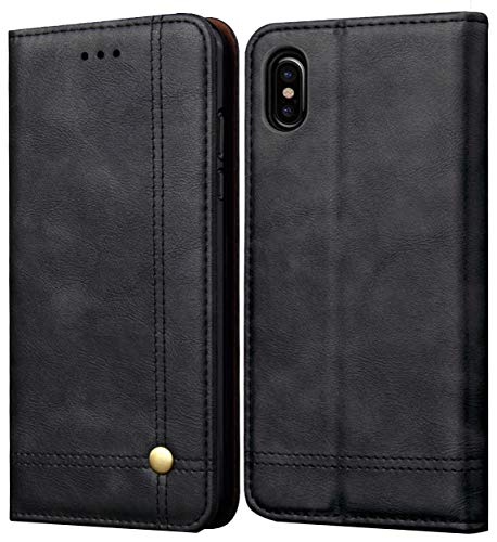 (iPhone XS Max Case, SINIANL Leather Wallet Case Magnetic Closure With Kikstand & Card Slot Flip Cover for Apple iphone XS Max 6.5 inch 2018 - Black )
