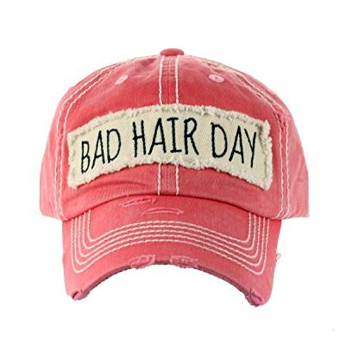 - Bad Hair Day Pink Washed Cotton Vintage Ball Cap, Adjustable.