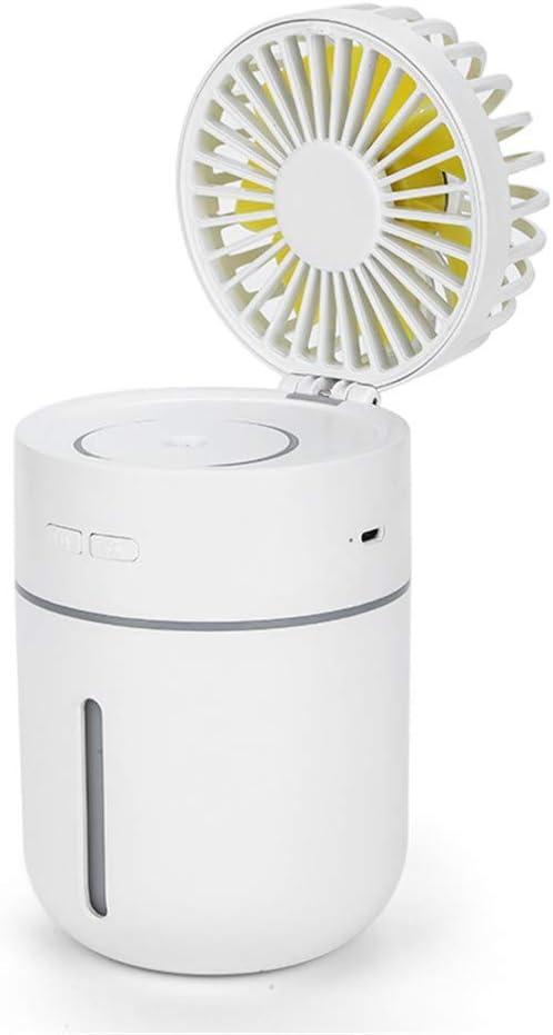 Huainiu Ventilador Flexible USB Recargable, Ventilador con Agua Pulverizada, Ventilador LED Humidificador Externo Portatil, Ventilador Helicoidal Oficina Mesa Silencioso (Blanco)