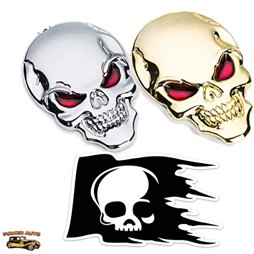 Skull Car Emblem Metal Logo - Power Auto 2 pcs Skull Head w/Red Eyes Emblems 3D Metal Peel-N-Stick Plus Skull Skeleton Die-Cut Thick Durable Vinyl Weatherproof Decal Sticker (1 Gold,1 Silver, 1 Decal) (Skull Head Car)