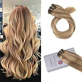 【Buy 2 Save 5%】Moresoo Remy Clip in Hair Extensions Short Straight Human Hair Extensions Clips in 10 Inch #14 Blonde Highlighted with #613 Blonde 5 Pieces 70 Grams Remy Clip Hair Extensions for Women