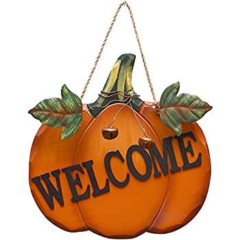 Attraction Design Wood Pumpkin Welcome Sign Fall Front Door Decor, Rustic Hanging Welcome Door Sign for Autumn Harvest Thanksgiving Halloween Door Wall Decoration Indoor Outdoor 9.75