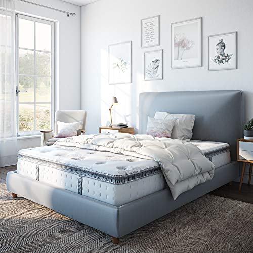 "Classic Brands Mercer Pillow-Top Cool Gel Memory Foam and Innerspring Hybrid 12"" Mattress, Full, White"