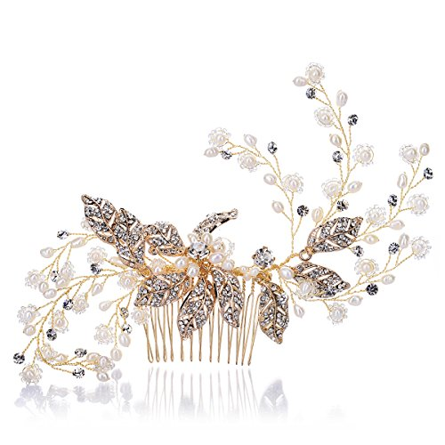Remedios Handmade Vintage Crystal Pearl Bridal Side Comb Wedding Party Hair Accessory