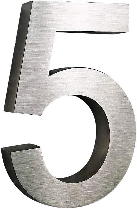 Ziffer:8;Stil:2D 3D H/öhe 20cm V2Aox Hausnummer Edelstahl Design Arial ALLE ZAHLEN in 2D