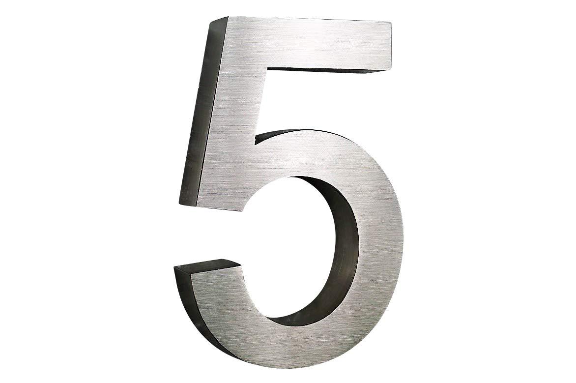Num/éro de maison en acier inoxydable n /° 5/H25/cm x 3/cm Arial en 3D V2/A bross/é en taille XXL.