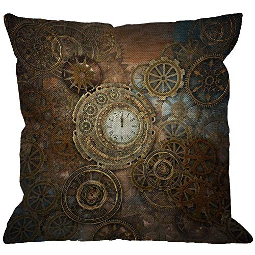 - HGOD DESIGNS Steampunk Throw Pillow Cover,Rusty Steampunk with Clock and Different Gears Metal Machine Gold Bronze Decorative Pillow Cases Linen Square Cushion Covers for Home Sofa Couch 18x18 inch