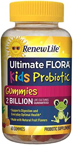 Renew Life Kids Probiotic - Ultimate Flora Kids Probiotic, Shelf Stable Probiotic Supplement - 2 Billion - Fruit Flavor, 60 Chewable Gummies