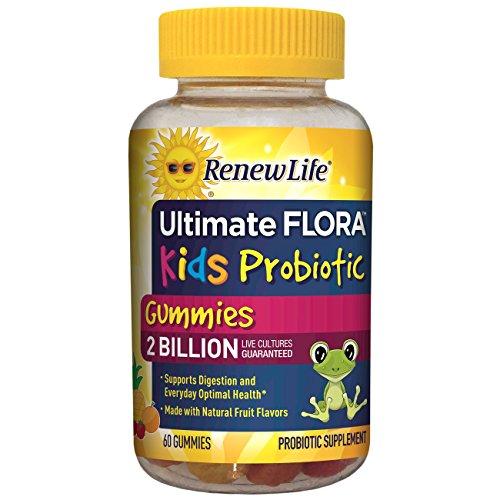 Renew Life Kids Probiotic - Ultimate Flora  Kids Probiotic, Shelf Stable Probiotic Supplement - 2 Billion - Fruit Flavor, 60 Chewable Gummies (Packaging May Vary) ()