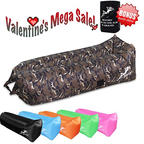 Camo Lounger - Beachin' Inflatable Lounger with Cansleeve and Bottle Opener, Bag Carrier, Securing Stake and 3 Pockets Included Perfect for Indoor and Outdoor Relaxations (Camouflage Yo)