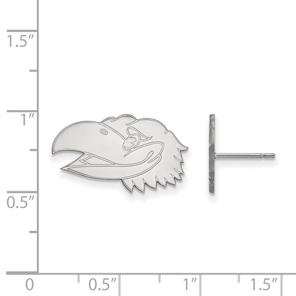 925 Sterling Silver LogoArt University of Kansas Small Post Earrings