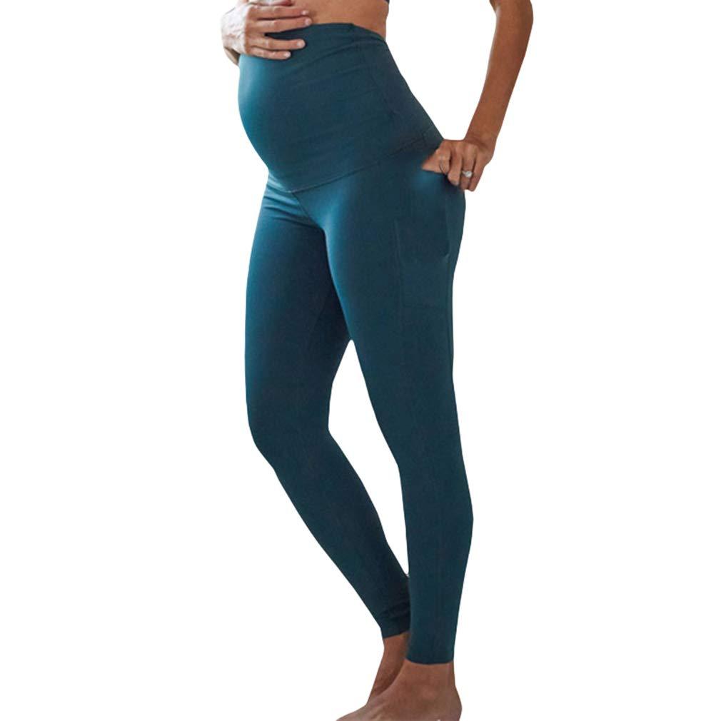 Damen Umstandsleggins Hohe Taille Umstandshose mit Bauchband Stretch Slim Fit Leggings Bequem Atmungsaktiv Freizeithosen
