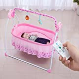 Electric Baby Bassinet, WBPINE Baby Cradle,Baby Swing MP3 Play(Pink)