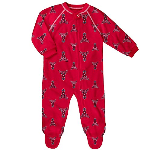 Baseball Print Bodysuit - OuterStuff MLB Infant Angels Sleepwear All Over Print Zip Up Coverall, 12 Months, Athletic Red