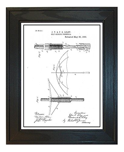 Self Opening Umbrella Patent Art White Matte Print with a Bo