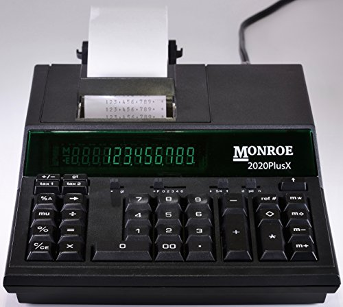 (1) Monroe 2020PlusX 12-Digit Medium-Duty Color Printing Calculator in Black
