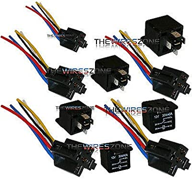 Amazon.com: The Wires Zone 5 Pack 30/40 Amp Relay Wiring Harness SPDT 12  Volt Bosch Style S: AutomotiveAmazon.com