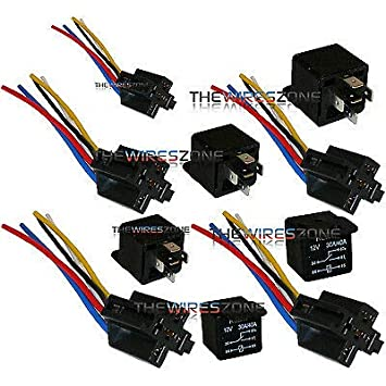 The Wires Zone 5 Pack 30/40 Amp Relay Wiring Harness SPDT 12 Volt Bosch on