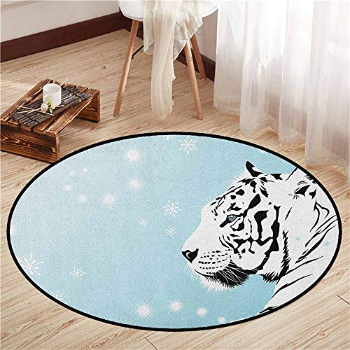Indoor/Outdoor Round Rugs,Tiger,White Bengal Beast Lies Against Snowy Background Beautiful Eyes Majestic Nature,Super Absorbs Mud,3'11
