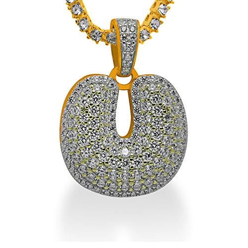 925 Sterling Silver Yellow Gold-Tone Iced Out Hip Hop Swag Bling Bubble Letter U Pendant with 18'' 1 Row Chain by iRockBling
