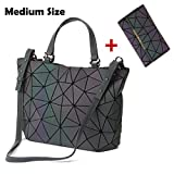 HotOne Geometric Luminous Purses and Handbags Shard Lattice Eco-friendly Leather Rainbow Holographic Purse (Luminous Medium + Wallet Set)