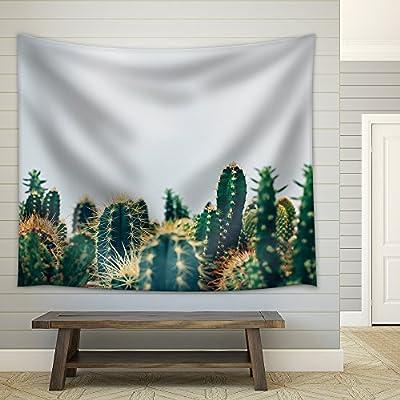 Magnificent Creative Design, Premium Creation, Green Cactus Against White Background Fabric Wall