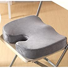Firely Coccyx Orthopedic Memory Foam Seat Cushion Office Chair and Car Seat Cushion for Back Tailbone Pain and Sciatica Relief (Gray)