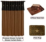 HIE Country & Western Mocha Star Shower Curtain & Bathroom Accessories 17 Piece Set