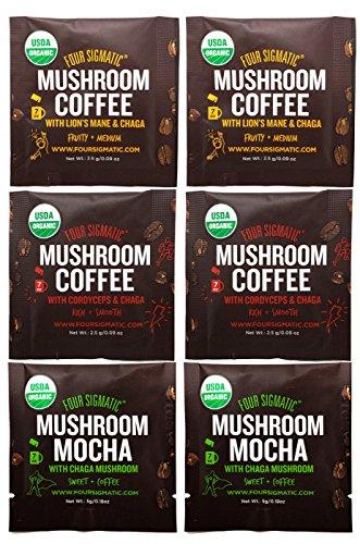 Four Sigmatic Mushroom Arabica Coffee Sampler  Mushroom Mocha (Chaga and Cacao), Mushroom Coffee with Cordyceps and Chaga, Mushroom Coffee with Lions Mane and Chaga (6 Packets)  USDA Organic, Vegan
