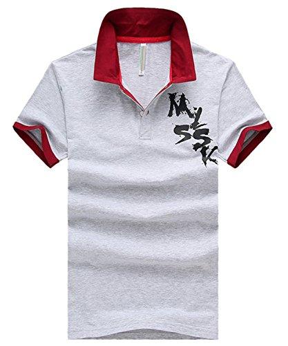 [ファンノシ]Fanessy ポロシャツ メンズ 半袖 フェイクレイヤード ボーダー お洒落な重ね着スタイル 涼しい 通気性 速乾性 薄手 吸汗 夏 polo カジュアル スポーツウェア ゴルフウェア シンプル ファッション カッコイイ Tシャツ
