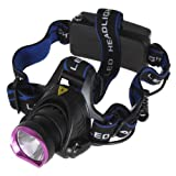 WindFire 2000 Lumens CREE XM-L T6 U2 LED 3 Modes Headlamp 18650 Rechargeable Battery Head Light Torch Flashlight with AC Charger Car Charger USB Cable Charger and 2 X WindFire 4000mah Rechargeable battery for Hiking, Cycling, Camping, Climbing