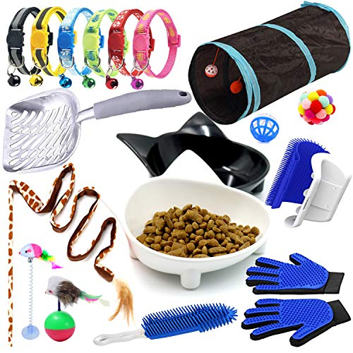 Cat Supplies Pack,19 Piece Kitty Starter Kit: 6X Cat Toys,4X Cat Grooming Tool, 6X Cat Collar,a Litter Scoop,2X Cat Bowls,Essential Gift for New Pet Owners.Cat-Supplies-Kitty-Starter-Assortments