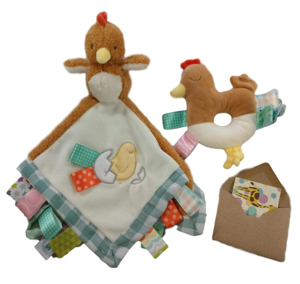TAGGIES Soothing Farm Animal Chicken Baby Gift Set- Baby Rattle, Security Blanket and Gift Card-3 Items (CHIKKA)