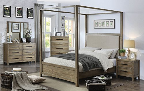 FV Design Contemporary Canopy Bed in Light Oak color and upholstered Headboard - Queen size (Canopy Bed Oak Bedroom)