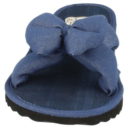 Denim Casual On Trim Blue Ladies Spot Mules Bow XvqxwBRZyF