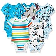 Rosie Pope Baby Bodysuits 5 Pack, Blue, 3-6 Months